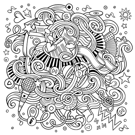 Cartoon hand-drawn doodles Musical illustration. Line art detailed, with lots of objects vector background