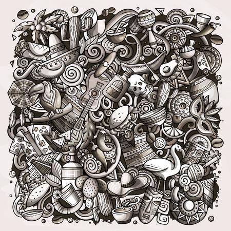 Cartoon vector doodles Latin America illustration. Toned latinamerican picture Standard-Bild - 112585470