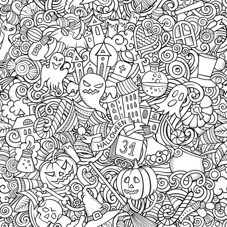 Cartoon cute doodles hand drawn Halloween seamless pattern. Line art detailed, with lots of objects background. Endless funny vector illustration. All objects separate.  イラスト・ベクター素材