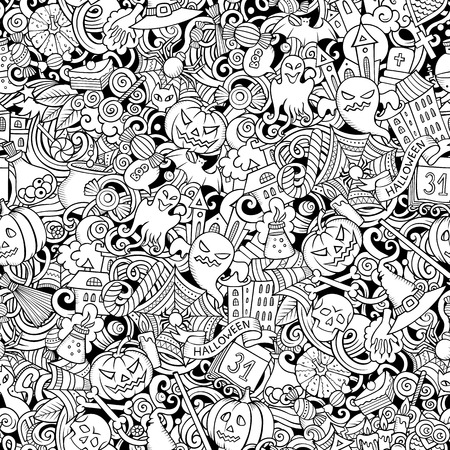 Cartoon cute doodles hand drawn Halloween seamless pattern. Line art detailed, with lots of objects background. Endless funny vector illustration. All objects separate. Stock Illustratie