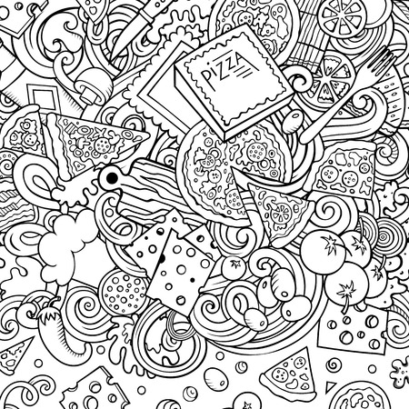 Cartoon vector doodles Pizza frame. Contour drawing, detailed, with lots of objects background. All objects separate. Sketchy pizzeria funny border Zdjęcie Seryjne - 127747089
