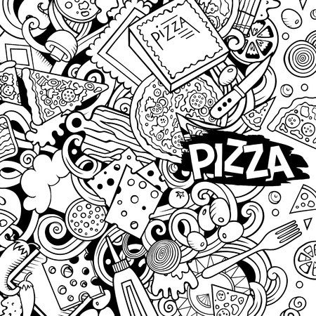 Cartoon vector doodles Pizza frame. Contour drawing, detailed, with lots of objects background. All objects separate. Sketchy pizzeria funny border 向量圖像
