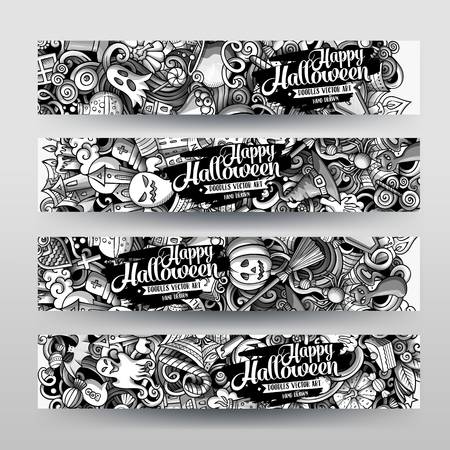 Cartoon cute graphic toned vector hand drawn doodles Halloween corporate identity. 4 horizontal banners design. Templates set. All objects separate