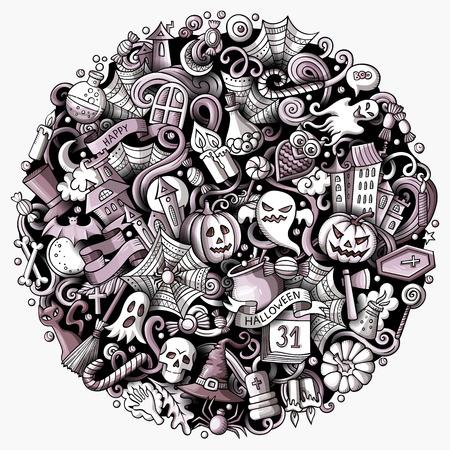 漫画ベクトル落書きハッピーハロウィーンイラスト。モノクロ、詳細、オブジェクトの背景の多くを持ちます。すべてのオブジェクトが分離されま