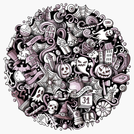 Cartoon vector doodles Happy Halloween illustration. Monochrome, detailed, with lots of objects background. All objects separate. Toned funny round picture Stock Illustratie