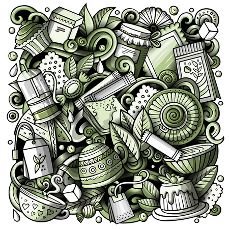 Cartoon vector doodles Tea illustration. Monochrome, detailed, with lots of objects background. All objects separate. Toned Cafe funny picture Illustration