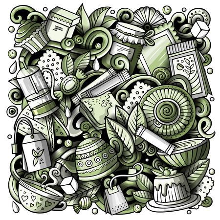 Vector de dibujos animados garabatos Ilustración de té. Monocromo, detallado, con muchos objetos de fondo. Todos los objetos se separan. Imagen divertida de Toned Cafe
