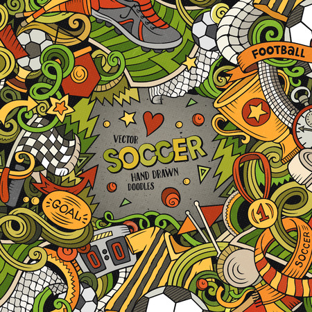 Cartoon vector doodles Soccer frame. Colorful, detailed, with lots of objects background. All objects separate. Bright colors football funny border Vectores