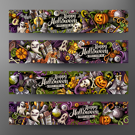 Cartoon cute colorful vector hand drawn doodles Halloween corporate identity. 4 horizontal banners design. Templates set. All objects separate Vectores