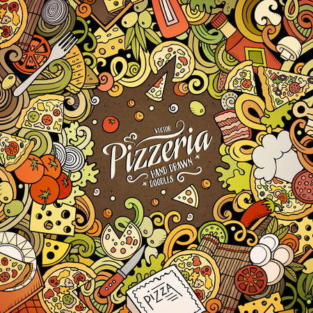 Cartoon vector doodles Pizza frame. Colorful, detailed, with lots of objects background. All objects separate. Bright colors pizzeria funny border