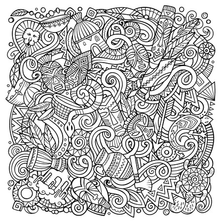 Cartoon vector doodles Africa illustration. Sketchy, detailed, with lots of objects background. All objects separate. Line art african culture funny picture