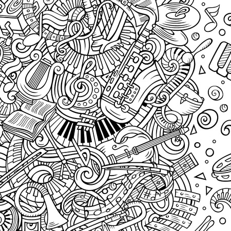 Cartoon vector doodles Classic music frame.Line art musical border Archivio Fotografico - 111504072