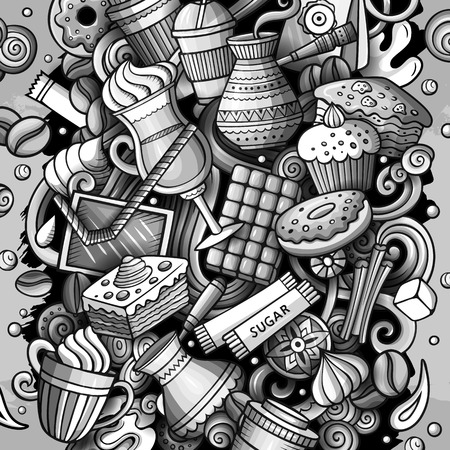 Cartoon vector doodles Coffe shop illustration. Monochrome, detailed, with lots of objects background. All objects separate. Cafe funny picture