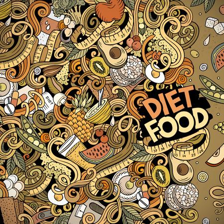 Vecteur de dessin animé doodles cadre de nourriture de régime. Coloré, détaillé, avec beaucoup de fond d'objets. Tous les objets se séparent. Bordure drôle diététique de couleurs vives