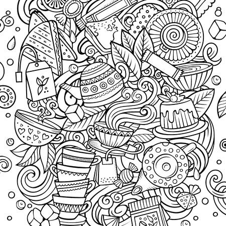 Kreskówka wektor gryzmoły Ilustracja herbaty. Szkicowy, szczegółowy, z dużą ilością obiektów w tle. Wszystkie przedmioty są oddzielone. Line art Cafe śmieszne zdjęcie Ilustracje wektorowe