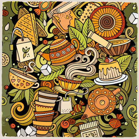 Cartoon vector doodles Tea illustration. Colorful, detailed, with lots of objects background. All objects separate. Bright colors Cafe funny picture Illustration