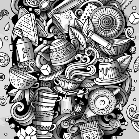 Cartoon vector doodles Tea illustration. Monochrome, detailed, with lots of objects background. All objects separate. Toned Cafe funny picture Ilustrace