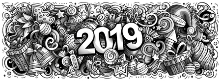 2019 hand drawn doodles horizontal illustration. New Year objects and elements poster design. Creative cartoon holidays art background. Toned vector drawing