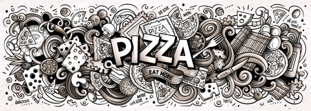 Cartoon cute doodles Pizza word. Line art horizontal illustration. Background with lots of separate objects. Funny vector artwork Illustration
