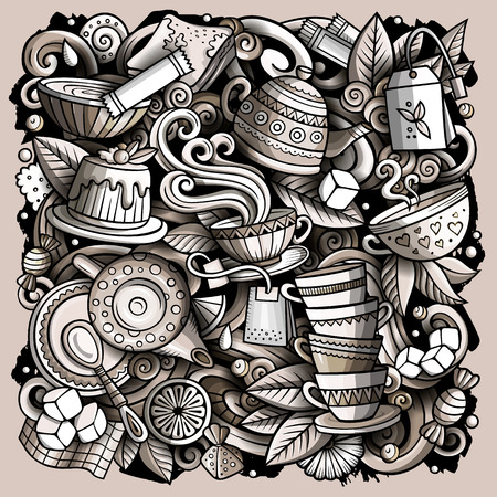 Cartoon vector doodles Tea illustration. Monochrome, detailed, with lots of objects background. All objects separate. Toned Cafe funny picture Иллюстрация