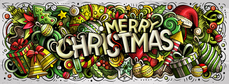 Merry Christmas hand drawn doodles horizontal illustration. New Year objects and elements poster design. Creative cartoon holidays art background. Colorful vector drawing Illustration