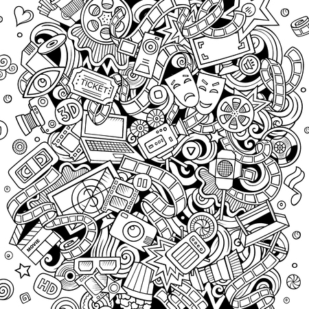 Cartoon vector doodles Cinema illustration. Line art, detailed, with lots of objects background. All objects separate. Sketchy Movie funny round picture