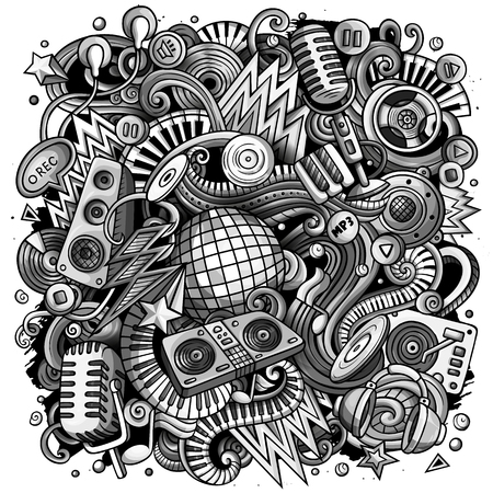 Cartoon vector doodles Disco music illustration. Toned musical funny picture 写真素材