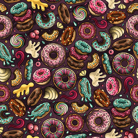 Cartoon hand-drawn donuts seamless pattern. Perfect funny vector background.