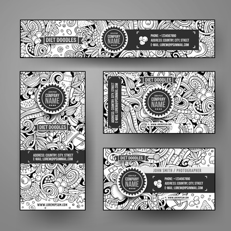 Corporate Identity vector templates set design with doodles hand drawn Diet food theme. Line art banner, id cards, flayer design. Templates set Illustration