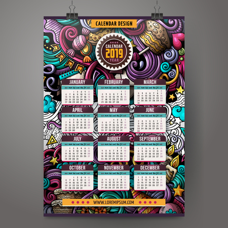 Cartoon colorful hand drawn doodles Holidays 2019 year calendar template. English, Sunday start. Very detailed, with lots of objects illustration. Funny vector artwork.
