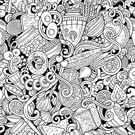Cartoon cute doodles hand drawn Russian food seamless pattern. Line art detailed, with lots of objects background. Endless funny vector illustration. All objects separate. Illusztráció