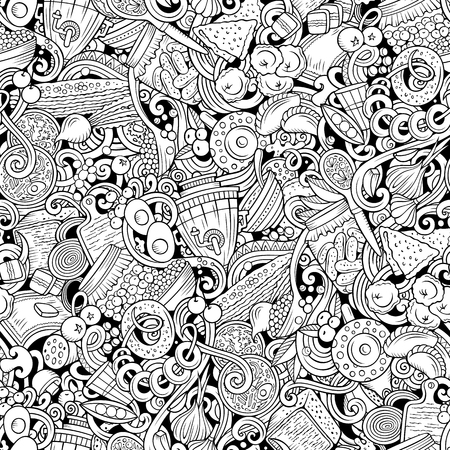 Cartoon cute doodles hand drawn Russian food seamless pattern. Line art detailed, with lots of objects background. Endless funny vector illustration. All objects separate. Illustration