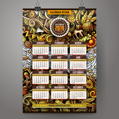 Cartoon colorful hand drawn doodles Africa 2019 year calendar template. English, Sunday start. Very detailed, with lots of objects illustration. Funny vector artwork. Stok Fotoğraf - 112403419