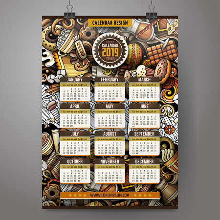 Cartoon colorful hand drawn doodles Coffee 2019 year calendar template. English, Sunday start. Very detailed, with lots of objects illustration. Funny vector artwork. Çizim
