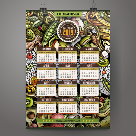 Cartoon colorful hand drawn doodles Diet food 2019 year calendar template. English, Sunday start. Very detailed, with lots of objects illustration. Funny vector artwork. Stok Fotoğraf - 127520821
