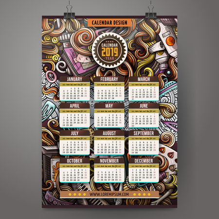 Cartoon colorful hand drawn doodles Hairstyle 2019 year calendar template. English, Sunday start. Very detailed, with lots of objects illustration. Funny vector artwork. Stok Fotoğraf - 127520822