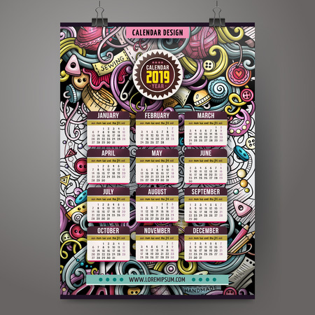 Cartoon colorful hand drawn doodles Handmade 2019 year calendar template. English, Sunday start. Very detailed, with lots of objects illustration. Funny vector artwork. 向量圖像
