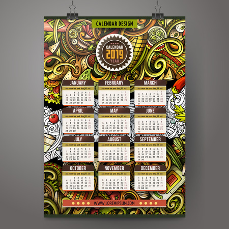 Cartoon colorful hand drawn doodles Mexican food 2019 year calendar template. English, Sunday start. Very detailed, with lots of objects illustration. Funny vector artwork.