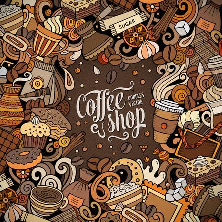 Vector de dibujos animados garabatos Marco de café. Colorido, detallado, con muchos objetos de fondo. Todos los objetos se separan. Frontera divertida de colores brillantes Cafe