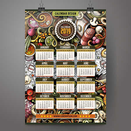Cartoon colorful hand drawn doodles Russian food 2019 year calendar template. English, Sunday start. Very detailed, with lots of objects illustration. Funny vector artwork. Illustration