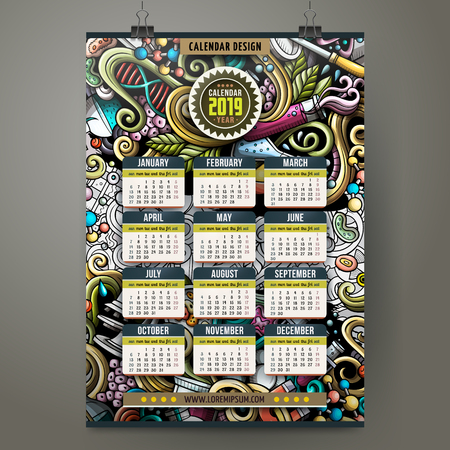 Cartoon colorful hand drawn doodles Science 2019 year calendar template. English, Sunday start. Very detailed, with lots of objects illustration. Funny vector artwork.