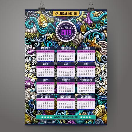 Cartoon colorful hand drawn doodles Underwater life 2019 year calendar template.
