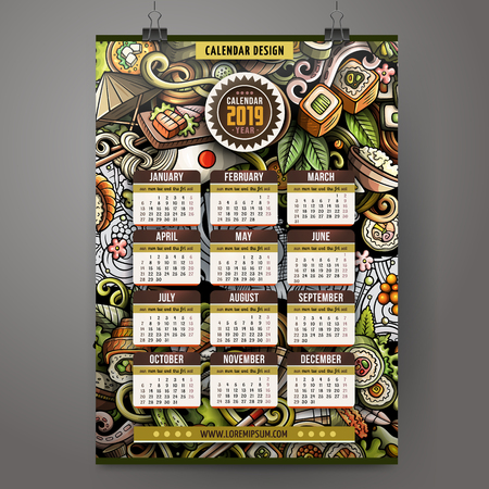 Cartoon colorful hand drawn doodles Japanese food 2019 year calendar template. English, Sunday start. Very detailed, with lots of objects illustration. Funny vector artwork. Illustration