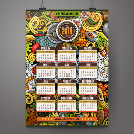 Cartoon colorful hand drawn doodles Picnic 2019 year calendar template. English, Sunday start. Very detailed, with lots of objects illustration. Funny vector artwork. Stok Fotoğraf - 127520842