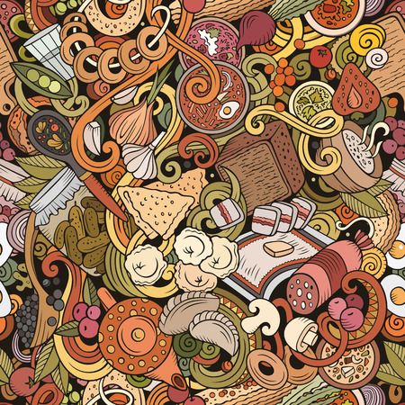 Cartoon cute doodles hand drawn Russian food seamless pattern. Colorful detailed, with lots of objects background. Endless funny vector illustration. All objects separate.