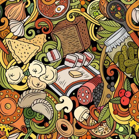 Dessin animé mignon doodles modèle sans couture de nourriture russe dessiné à la main. Coloré détaillé, avec beaucoup de fond d'objets. Illustration vectorielle drôle sans fin. Tous les objets se séparent. Vecteurs