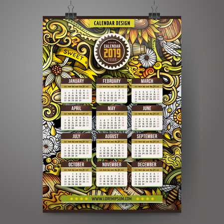 Cartoon colorful hand drawn doodles Honey 2019 year calendar template. English, Sunday start. Very detailed, with lots of objects illustration. Funny vector artwork.
