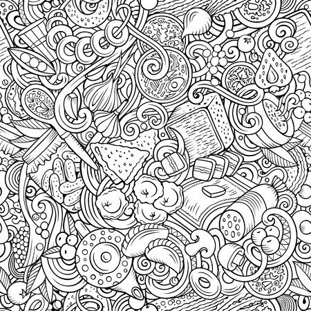 Cartoon cute doodles hand drawn Russian food seamless pattern. Line art detailed, with lots of objects background. Endless funny vector illustration. All objects separate.  イラスト・ベクター素材