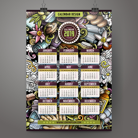 Cartoon colorful hand drawn doodles Massage 2019 year calendar template. English, Sunday start. Very detailed, with lots of objects illustration. Funny vector artwork.