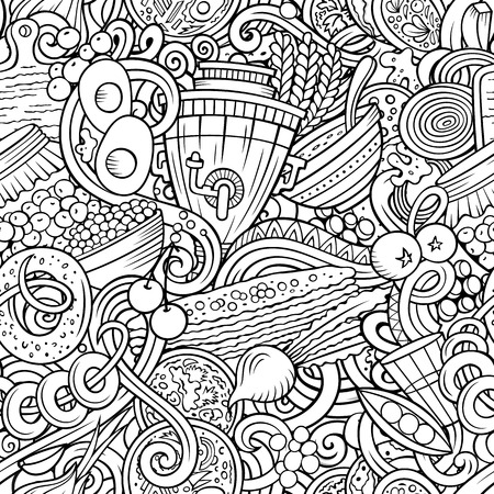Cartoon cute doodles hand drawn Russian food seamless pattern